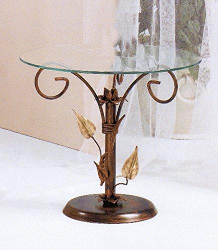 tavolino da salotto ferro battuto Spazio Casa Tavolino da Salotto Tondo Foglie Ferro Battuto - Bronzo Anticato