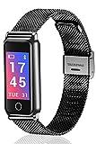 Fitness Tracker Bluetooth Armband Schrittzähler Kalorien Herzfrequenz Blutdruckmessgerät SMART Watch SCHWARZ