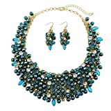 Bocar Fashion Faux Pearl Crystal Chunky Collar Statement Necklace Earring Set for Women Gift (NK-10260-teal)