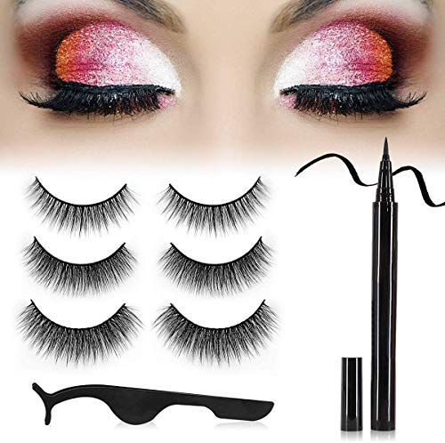 HEYISSU Magnetic Eyelash Kit,3 Pairs Reusable 3D False Eyelashes,1 Tubes of Magnetic Eyeliner Kit and Tweezers Inside, Eyeliner and Glue Two in One,Quick Drying, Waterproof, Easy to Remove Makeup