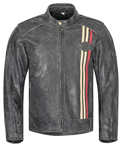 XLS Motorradjacke Classic Urban für Herren schwarz aus Leder Retro Bikerjacke herausnehmbares Thermofutter Größe 4XL