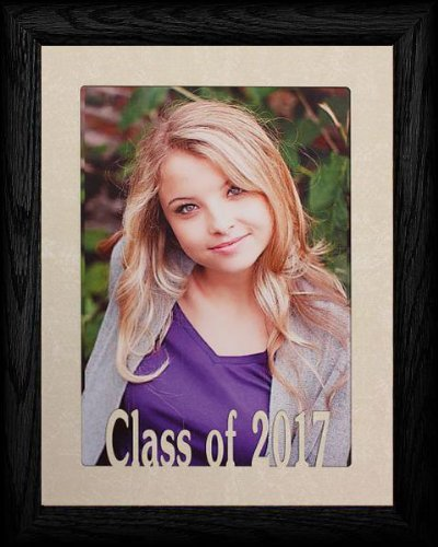 PersonalizedbyJoyceBoyce.com 5x7 Jumbo ~ Class of 2017 Portrait Picture Frame ~ Laser Cream Marble Matboard with Hardwood Frame (Black)