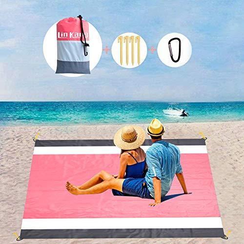 LIN KANG Outdoor Kompakte Picknickdecke - Stranddecke,extra groß, 210 x 200 cm picknickdecke wasserdicht Strandmatte mit 4 festen Nägeln für Strand, Camping, Wandern und Grasausflüge