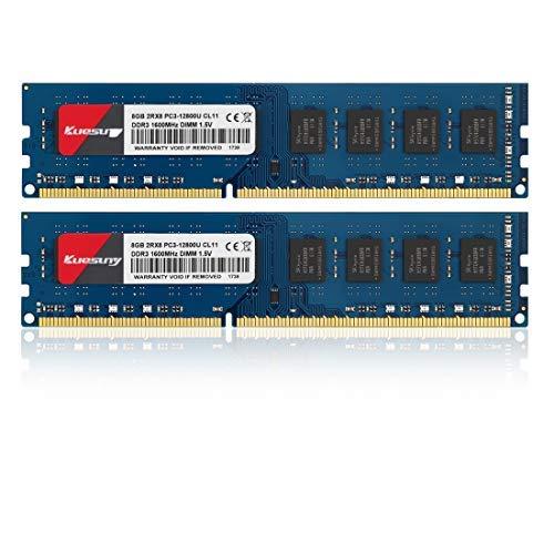 Kuesuny 16 GB Kit (2 x 8 GB) DDR3-1600 Udimm Ram, PC3-12800 / PC3-12800U 1,5 V CL11 240 Pin 2RX8 Upgrade von nicht ECC ungepufferten Desktop-Computer-RAM-Modulen mit zwei Rängen