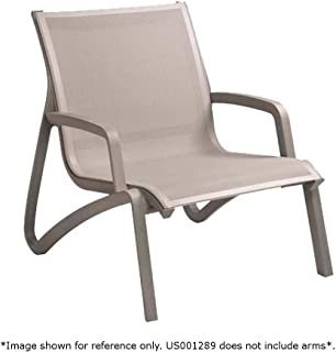 Grosfillex US001289 Sunset Lounge Chair, Without Arms, Solid Gray/Platinum Gray (Case of 4)