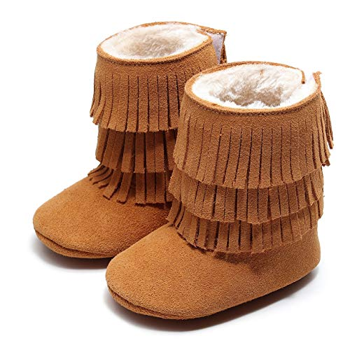 HONGTEYA Real Leather Fringe Baby Booties for Girls Boys Winter Warm Snow Boots with Tassels Soft Sole Fur LinedToddler Moccasins Shoes (0-3 Months Infant, Camel)