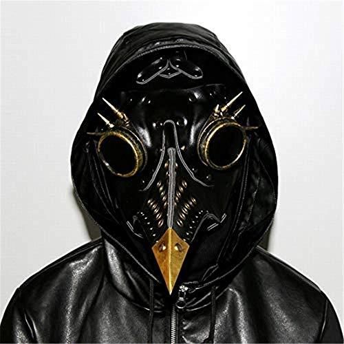Kevinliu Máscara Steampunk Doctor de la Plaga de Aves Pico, Máscaras Medieval Peste bubónica DR Halloween del Traje de Mascarada (Color : Black AMD Golden)