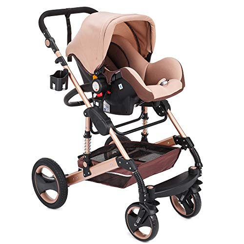 VEVOR 3 in 1 Baby Strollers,Portable Infant Baby Carriage Baby Walker,High View Baby Pram,Baby Prams,Pushchairs and Strollers