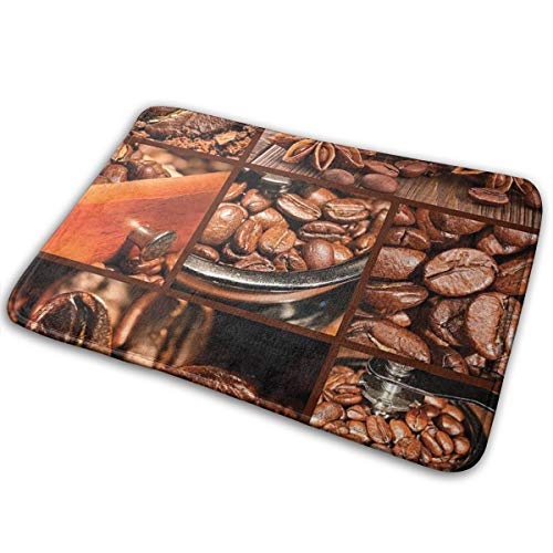 cap hat Brown Antique Grinder Coffee Beans Chocolate Cocoa And Cinnamon Vintage Macro Collage Brown Orange Carpet 15.7' X 23.5' Non-Slip Stain Fade Resistant Door Outdoor Indoor Mat Room Bathroom Rug