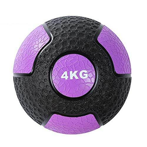 ZXQZ slam Ball Medicine Balls, Durable Non-Slip Rubber Weighted Slam Ball with Textured Grip, Wall Ball Exercise for Strength Balance Core Training (Size : 4kg)