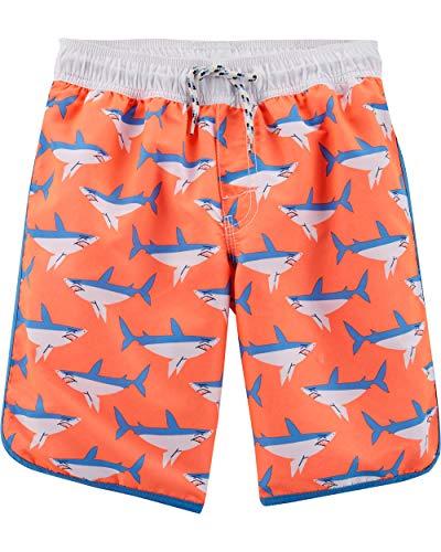 Osh Kosh Toddler Boys' Swim Trunks, Orange Shark, 4T