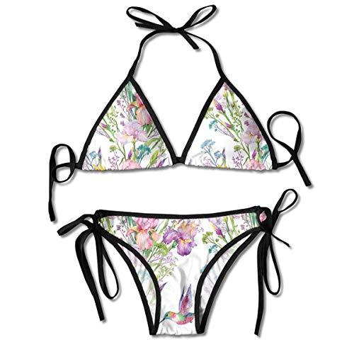 Jardín con pájaros y Flores, Conjuntos de Bikini para Mujer Impresos en Negro, Traje de baño de triángulo, Traje de baño para Playa