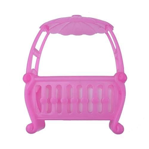 Domybest Rosa Baby Bett Puppe Spielzeug Armaturen Wiege Bett für Barbie Mädchen Puppe Möbel
