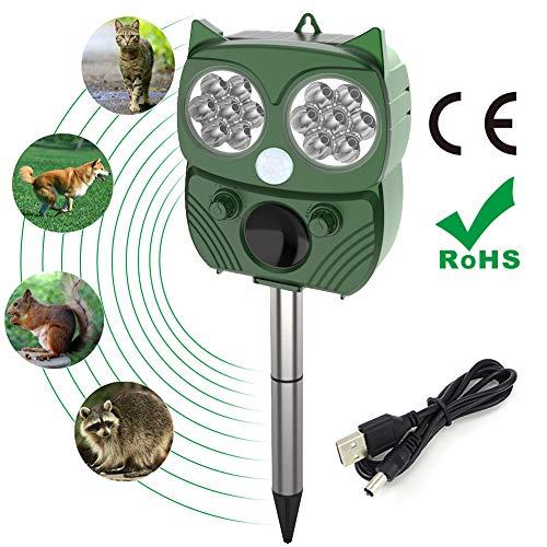 Ultrasuoni solari repellenti, IP66 impermeabile, gatto pulsante, uccello e topo, con 5 modalità regolabili Protezione dell'orto, dell'orto e del frutteto