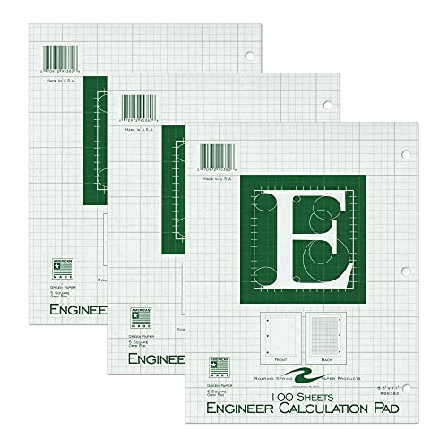 """Roaring Spring 5x5 Grid Engineering Pad, 3 Pack, 15# Green, 3 Hole Punched, 8.5"""" x 11"""" 100 Sheets, Green Paper"""