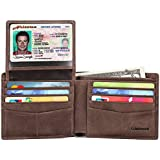 Mens Genuine Leather Bifold Wallet with 2 ID...