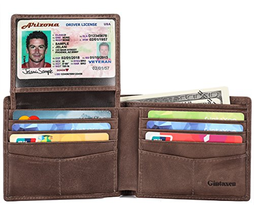 Mens Genuine Leather Bifold Wallet with 2 ID Window and RFID Blocking - Coffee