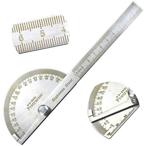 XAVSWRDE Rapporteur Angle Angle Measurement Tool 180 Degrés Protractor Angle Rapporteur d'Angle en Acier Inox Goniomètre Multifonctionnel Jauge de Recherche avec Bras pour Ingénieurs Menuiserie 0-10cm