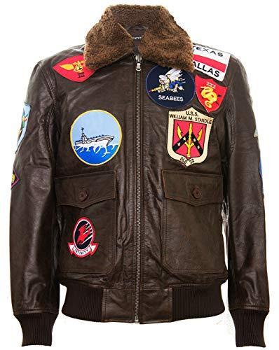 Infinity Leather Giacca Bomber per Uomo in Pelle con Collo e Toppe in Pelle di Montone Stile Top Gun M