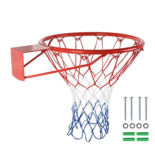 Yinrunx 15'' Basketball Rim Hoop Heavy Duty Basketball Net Replacement Basketball Rim and Net Replacement Indoor/Outdoor Fits Standard Indoor or Outdoor Rims Hanging Basketball Goal ,12 Loops