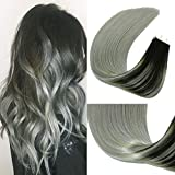 HUAYI Black To Gray Ombre 50g 20Pcs 18inch Tape In Hair Extensions Huamn Hair Soft Tape Lasting Hair Soft Thick End Tangle Extensions Balayage Hair(1BGray#18'')