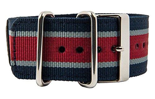 Casio G-Shock GA-100MC 10450840 - Cinturino per orologio in tessuto, con supporto, colore: Blu/Grigio/Rosso