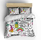 Vichonne Unicorn Bedding Sets Queen for Kids,3 Piece Cartoon Flamingo Pineapple Rainbow Theme Duvet Cover Sets with 2 Pillowcases for Teens Boys Girls Bedroom Decorative,No Comforter