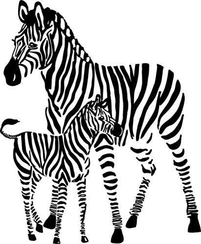 Wandtattoo/Wandaufkleber, Motiv 2 Zebras mit afrikanischen Safari, 53,3 x 53,3 cm, 22 Farben erhältlich