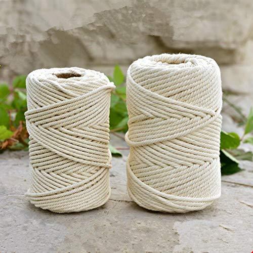 LLAAIT 1-10mm Beige Baumwolle Twisted Geflochtene Schnur Seil DIY Handmade Heimtextilien Zubehör Handwerk Makramee String Hochzeitsdekoration, 6mm x 50M