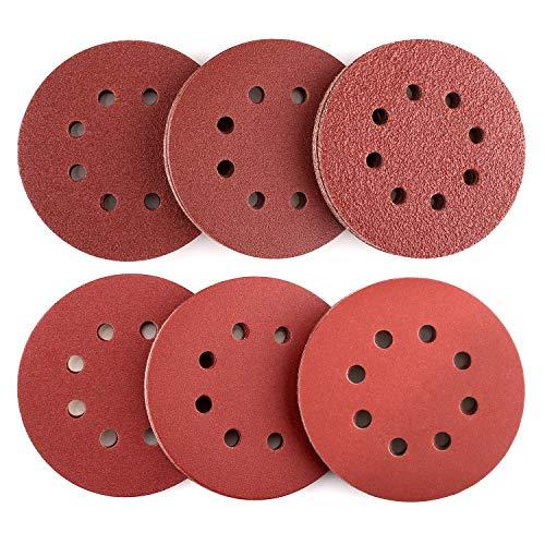 Papel de Lija de 60 Piezas 40, 60, 80, 120, 180, 240 Granos Surtidos 125mm Tacklife ASD03C Papeles de Lija Abrasivos con 8 Agujeros, Velcro Durable para Lijadora Excéntrica, Seco, Cambio Rápido