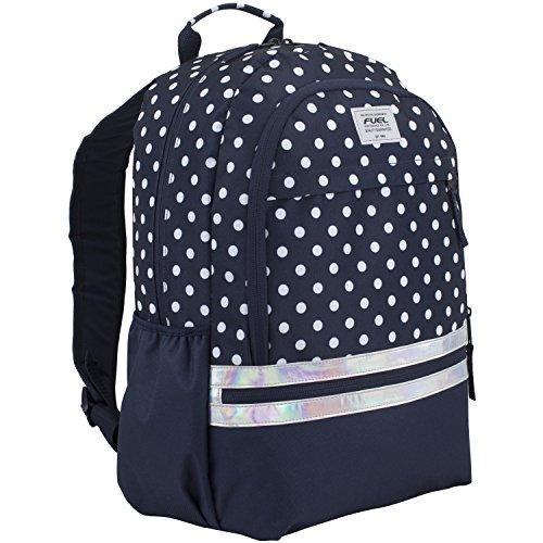 Fuel Ultimate Girls Concept Backpack, Navy/White Polka Dot Print/Iridescent Trim