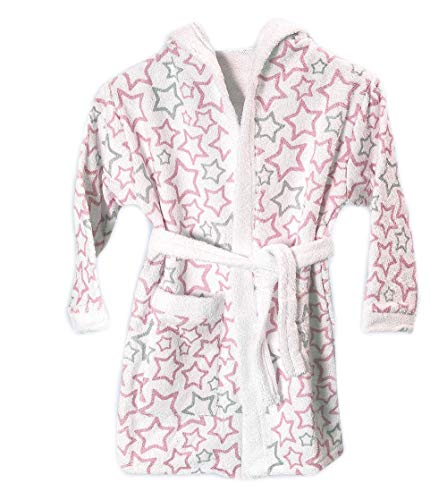 Ti Tin Albornoz Infantil para Niño o Niña con Capucha de Rizo Toalla 100% Algodón Suave y Absorbente con un Diseño de Estrellitas Color Rosa