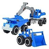 Carrito de construcción, 3 piezas/set de construcción de vehículos, excavadoras, camiones, juguetes para bunker de playa, niños, regalos de cumpleaños