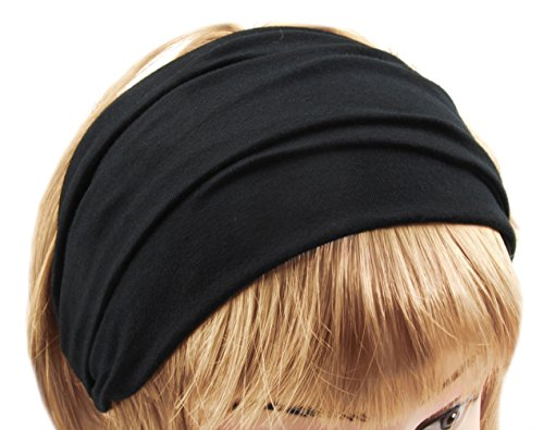 axy HB4 Haarband Yoga Headband Hairband (Schwarz)