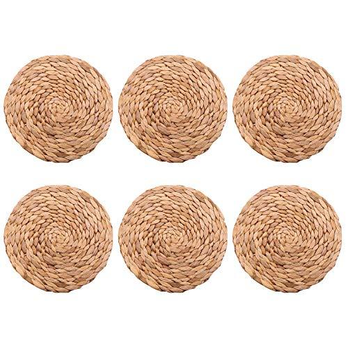 Iycorish - Tovagliette rotonde in giacinto d'acqua, confezione da 6 pezzi, in vimini di qualità, 25 cm