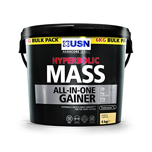 USN Hyperbolic Mass All-In-One Gainer Shake Powder, Vanilla, 6 kg