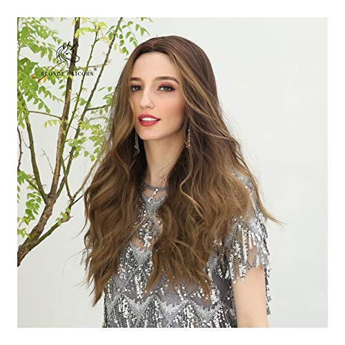 Sexy Lady volledige pruik 24 inch lang krullend Wave Brown haar pruik synthetische pruik Daily Dress for Women