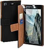 moex Handyhülle für Sony Xperia XZ1 Compact - Hülle mit Kartenfach, Geldfach & Ständer, Klapphülle, PU Leder Book Hülle & Schutzfolie - Schwarz