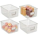 mDesign Juego de 4 cajas multiusos de metal – Caja organizadora multifunción...