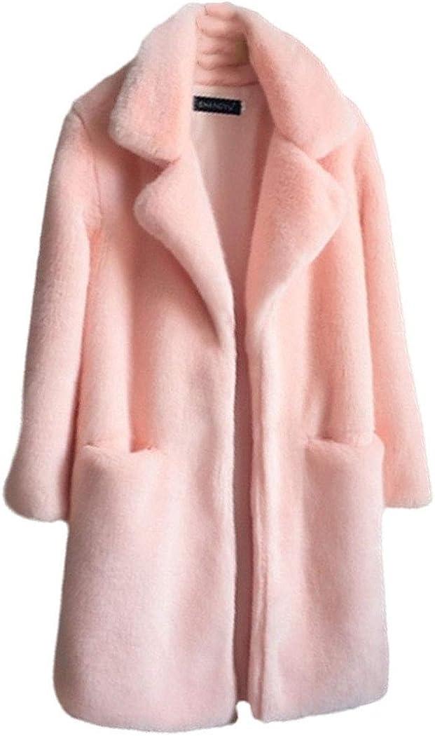 TRGHSFGJ Women Mink Faux Fur Coat Solid Turn Down Collar Winter Warm Fake Fur Lady Coat Casual Jacket