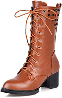 DETAIWIN Womens Mid Calf Boots Lace Up Square Rivets Punk Buckle Slip On Low Block Heels Riding Boots