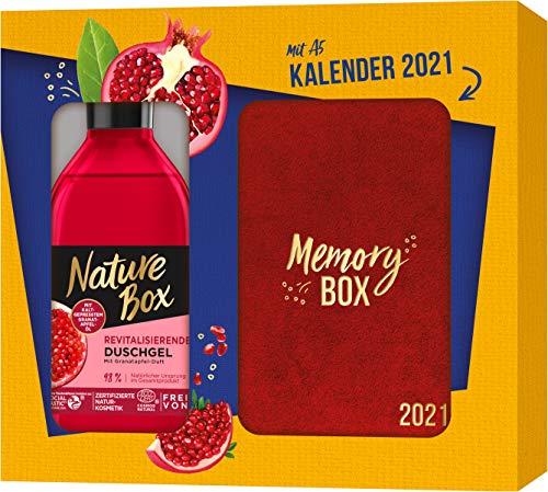 Nature Box Geschenkset Revitalisierendes Duschgel mit Granatapfel-Duft + Kalender 2021, 250 ml