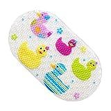 JameStyle26 Badewannematte Cartoon Tier Motiv PVC Wanneneinlage Matte Antirutsch mit Saugnäpfen Duschmatte Badteppich Kinder Kids Baby Eule Motiv (Gelb - Ente)
