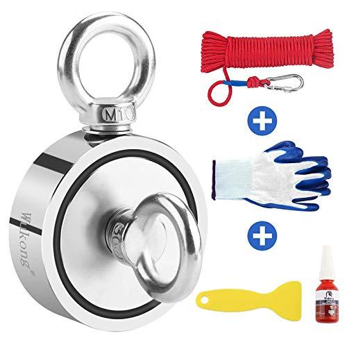 Magneti al neodimio, diametro di 75 mm,include forte magnete (400 kg), corda, guanti, colla per filettare, magneti da pesca con corda da 20m per la caccia al tesoro subacquea e il recupero di oggetti