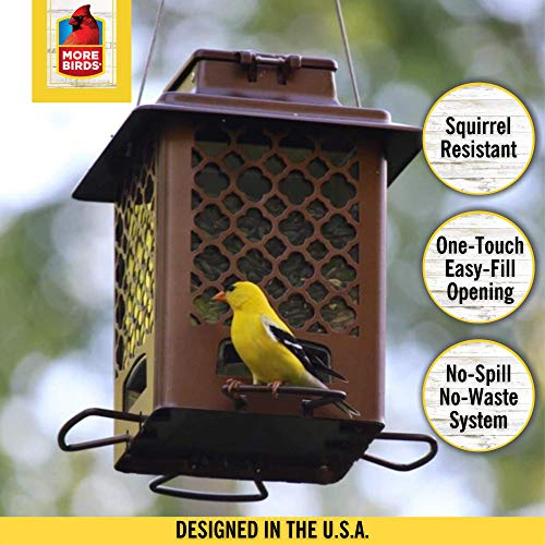 More Birds 105IN, 3.6 lb Seed Capacity, Copper Finish Stokes Select, Metal Hopper Feeder, 4 Feeding Ports