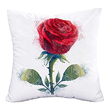 """MEHOTOP Super Soft 18""""x18"""" Throw Lumbar Pillows Case Pretty Vintage Red Rose Flower Green Leaf Pattern Cushion Covers Mother s Day Valentine s Day Best Gift for Women"""
