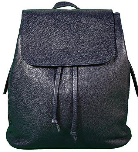 Ital. Echtleder Damen Rucksack Leichter Tagesrucksack Daypack Lederrucksack Damenrucksack versch. Farben erhältlich(Dunkelblau)