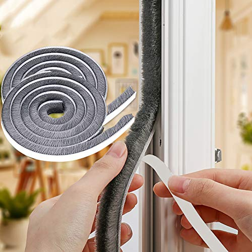 Self-Adhesive Brush Weather Stripping, High Density Felt Door Brush Strip for Sliding Sash Door Window Wardrobe Seal (7MM8MM_33FT, Gray)