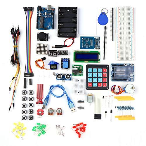 Fesjoy Kit de Inicio Proyecto electrónico Kit de Aprendizaje para Principiantes con sensores Motor Paso a Paso Tablero de Pruebas Cable de Puente LED Componente electrónico
