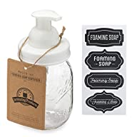 Jarmazing Products Mason Jar Foaming Soap Dispenser – White – with 16 Ounce Ball Mason Jar - One Pack!